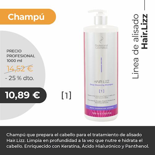 Champú Hair Lizz Alisador Deep Cleansing Shampoo 1000ml. Limpia en profundidad, nutre e hidrata el cabello. Con Keratina y Ácido Hialurónico.