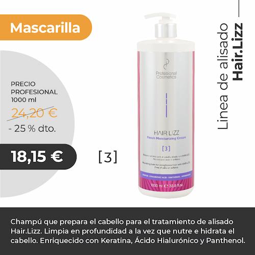 Mascarilla Hair Lizz Alisador Deep Cleansing Shampoo 1000ml. Limpia en profundidad, nutre e hidrata el cabello. Con Keratina y Ácido Hialurónico.