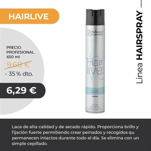 Fijador Hairlive 650ml. Laca de alta calidad y de secado rápido. Proporciona brillo y fijación fuerte. Evita la sequedad y se elimina de forma fácil.