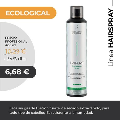 Fijador ecológico 400ml.Laca sin gas de fijación media y fuerte, de secado extra-rápido, para todo tipo de cabellos. Resiste la humedad.
